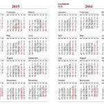 2016年全年日历表